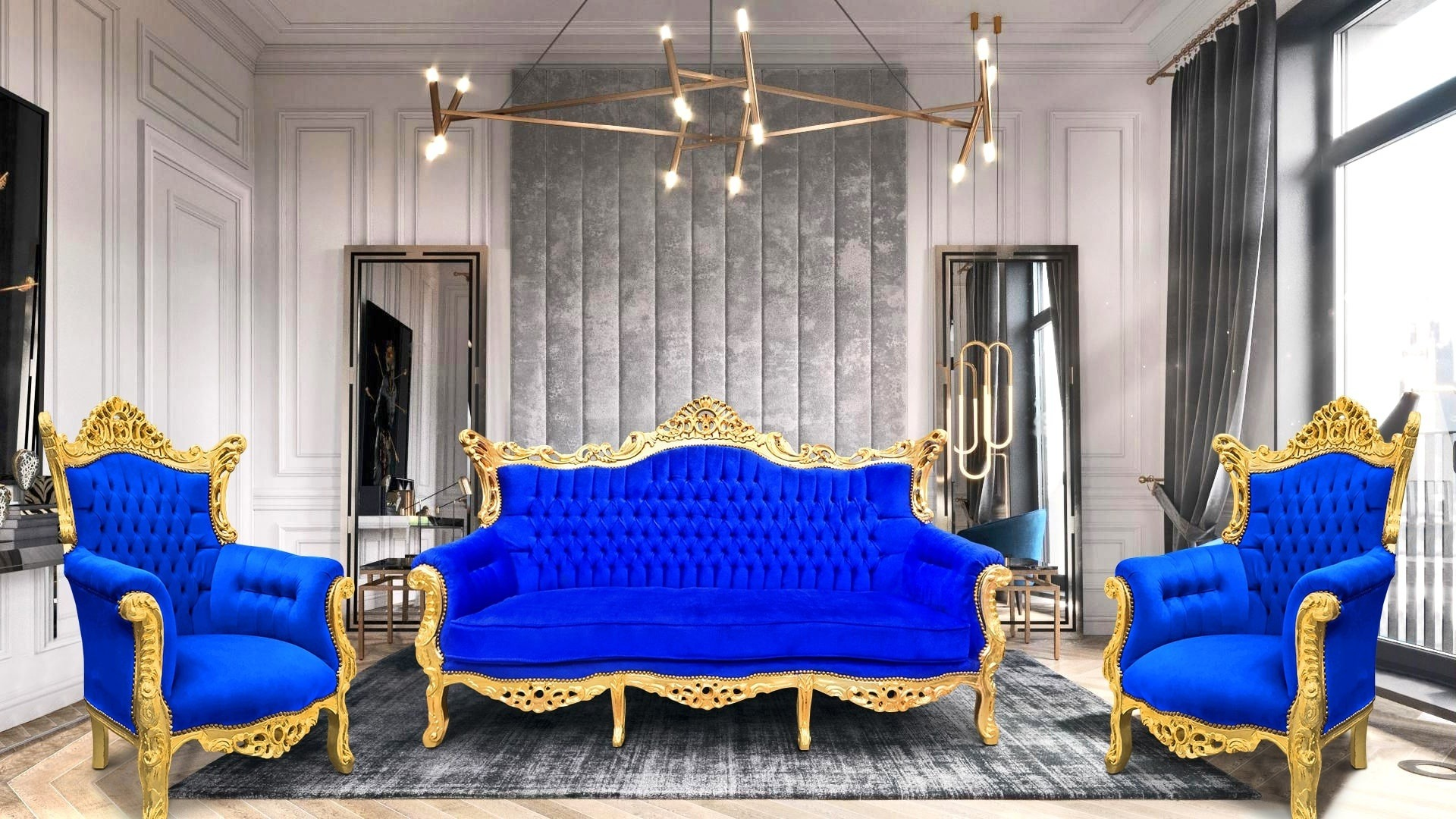Baroque furniture blue and gold